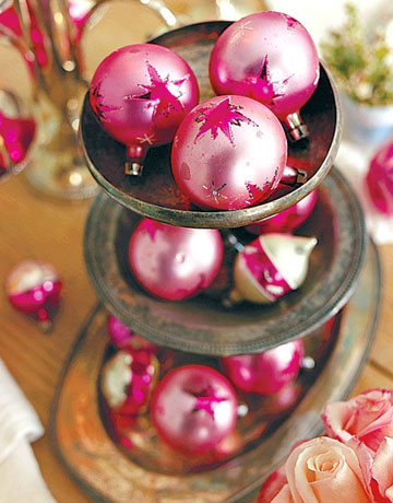 Pink ornaments via cl Pink Christmas!