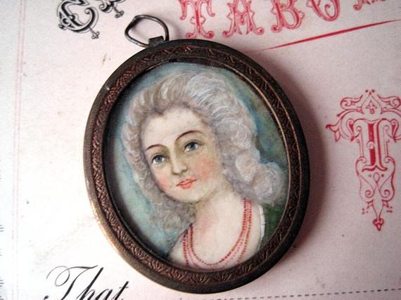 Vintage Miniature Portrait Pendant
