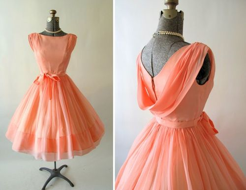 Vintage 1950s 60s  Georgia Peach Cocktail Dress